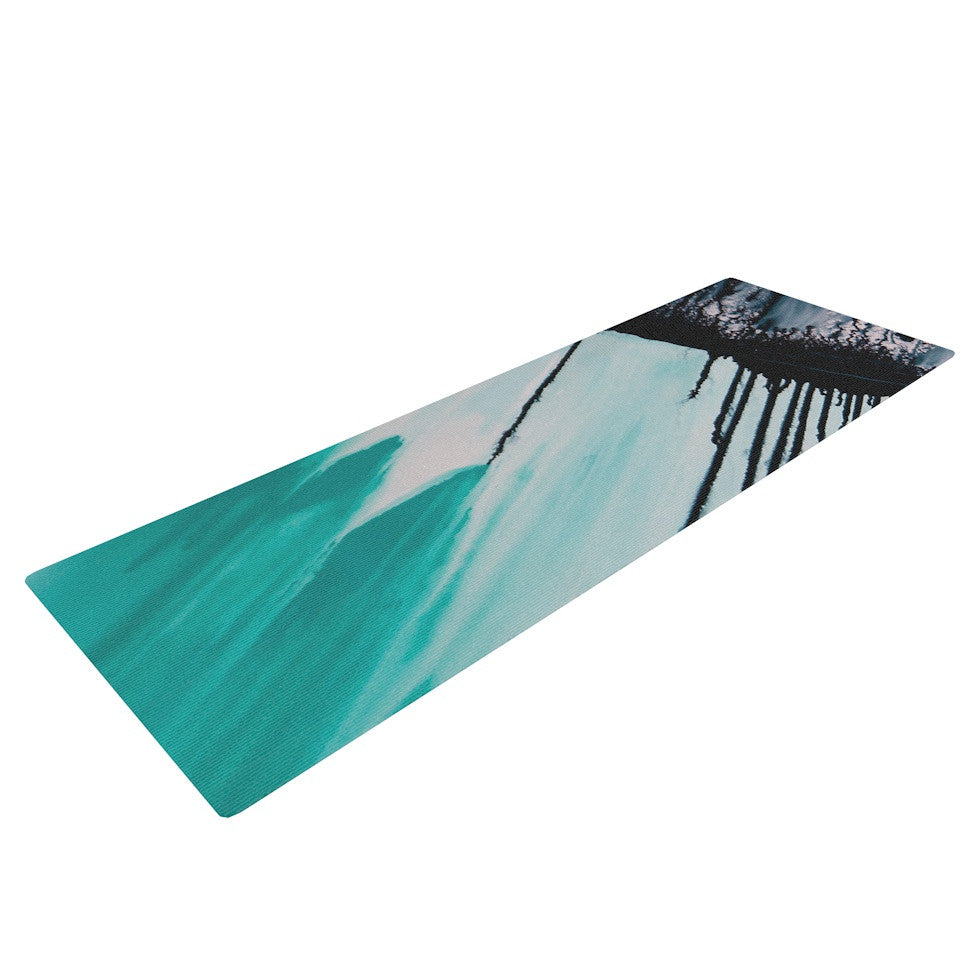 "Steve Dix ""Extractions"" Teal Black Yoga Mat - KESS InHouse  - 1"