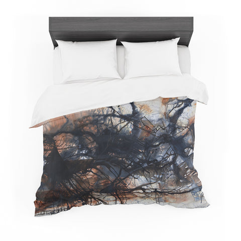 "Steven Dix ""Looking For Water"" Brown Black Painting Featherweight Duvet Cover"