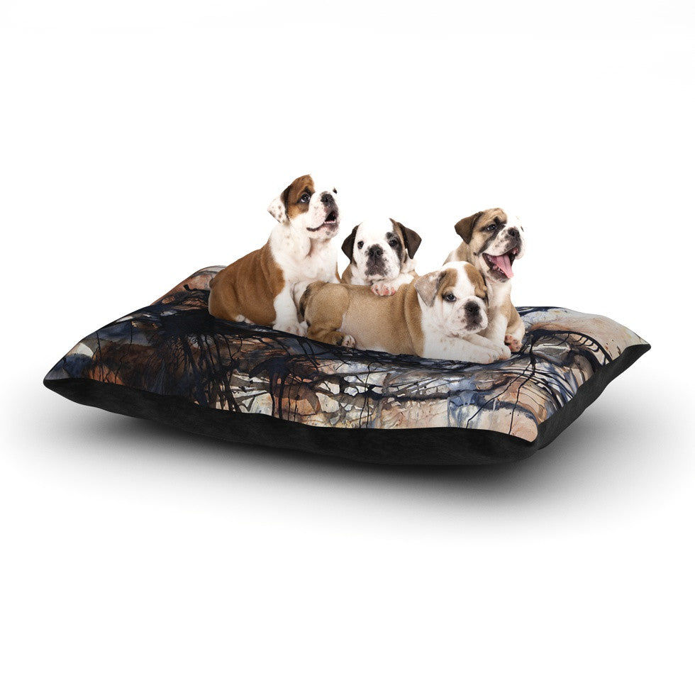 "Steve Dix ""Looking for Water"" Brown Black Dog Bed - KESS InHouse  - 1"