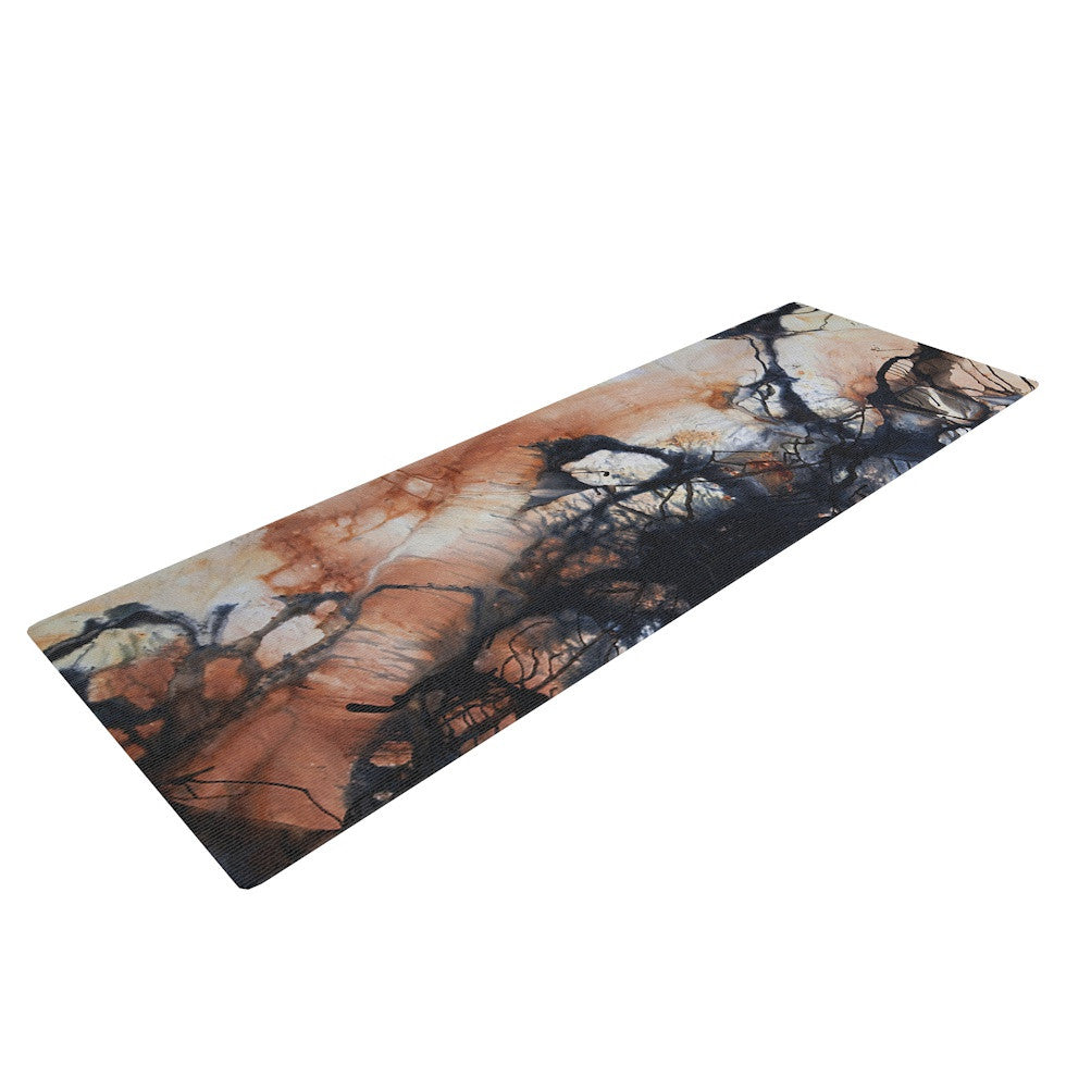 "Steve Dix ""Looking for Water"" Brown Black Yoga Mat - KESS InHouse  - 1"