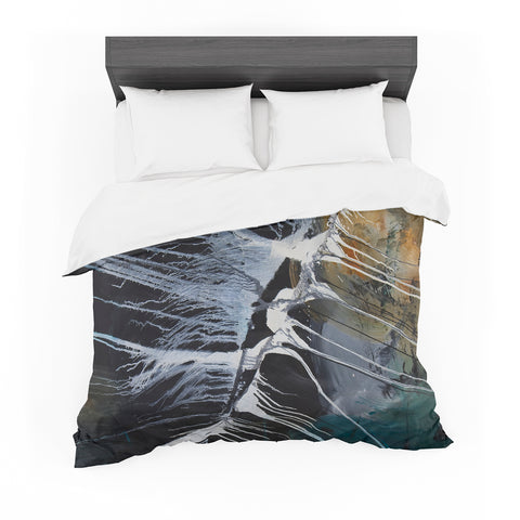 "Steven Dix ""Bones"" Black White Painting Featherweight Duvet Cover"