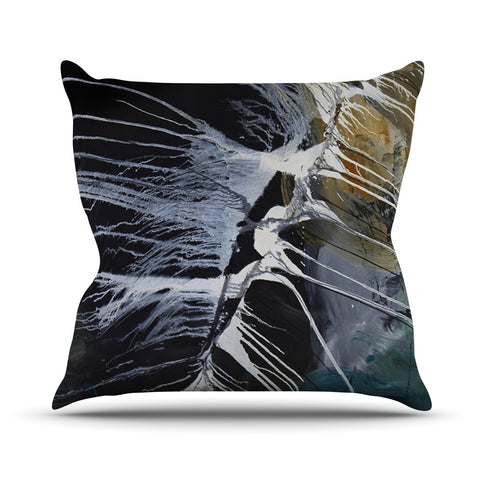 "Steve Dix ""Bones"" Black White Outdoor Throw Pillow - KESS InHouse  - 1"