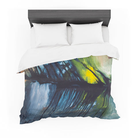 "Steven Dix ""Gravity Falling"" Multicolor Blue Painting Featherweight Duvet Cover"