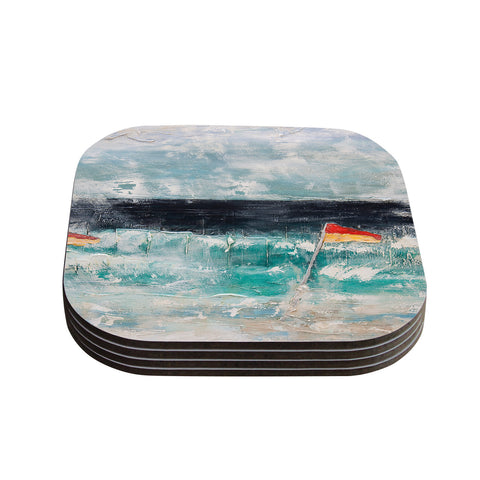 "Steve Dix ""Great Pacific Pty Ltd"" Teal White Coasters (Set of 4)"