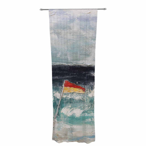"Steve Dix ""Great Pacific Pty Ltd"" Teal White Decorative Sheer Curtain - KESS InHouse  - 1"