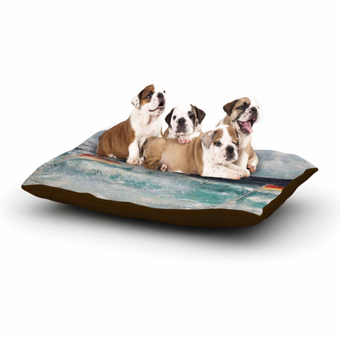 "Steve Dix ""Great Pacific Pty Ltd"" Teal White Dog Bed - KESS InHouse  - 1"