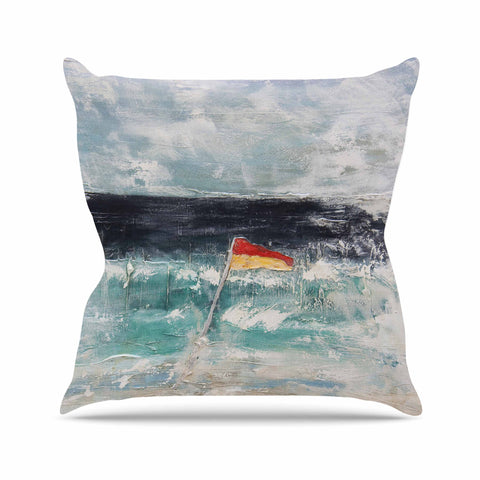 "Steve Dix ""Great Pacific Pty Ltd"" Teal White Outdoor Throw Pillow - KESS InHouse  - 1"