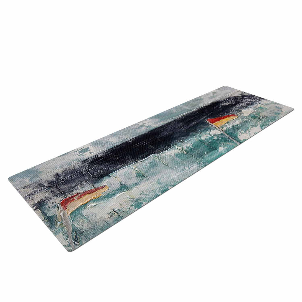 "Steve Dix ""Great Pacific Pty Ltd"" Teal White Yoga Mat - KESS InHouse  - 1"