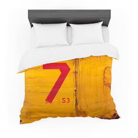 "Steven Dix ""7S3"" Orange Red Mixed Media Featherweight Duvet Cover"