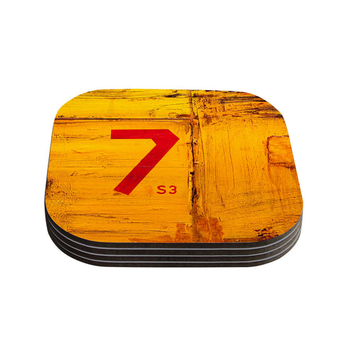 "Steve Dix ""7S3"" Yellow Painting Coasters (Set of 4)"