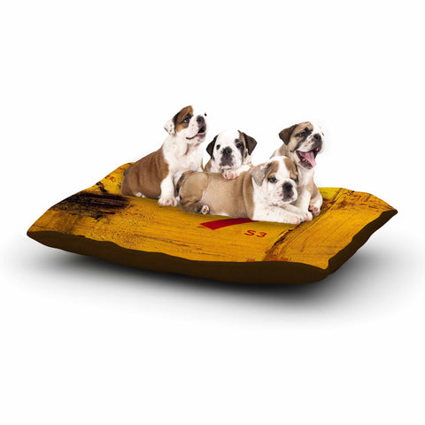 "Steve Dix ""7S3"" Yellow Painting Dog Bed - KESS InHouse  - 1"