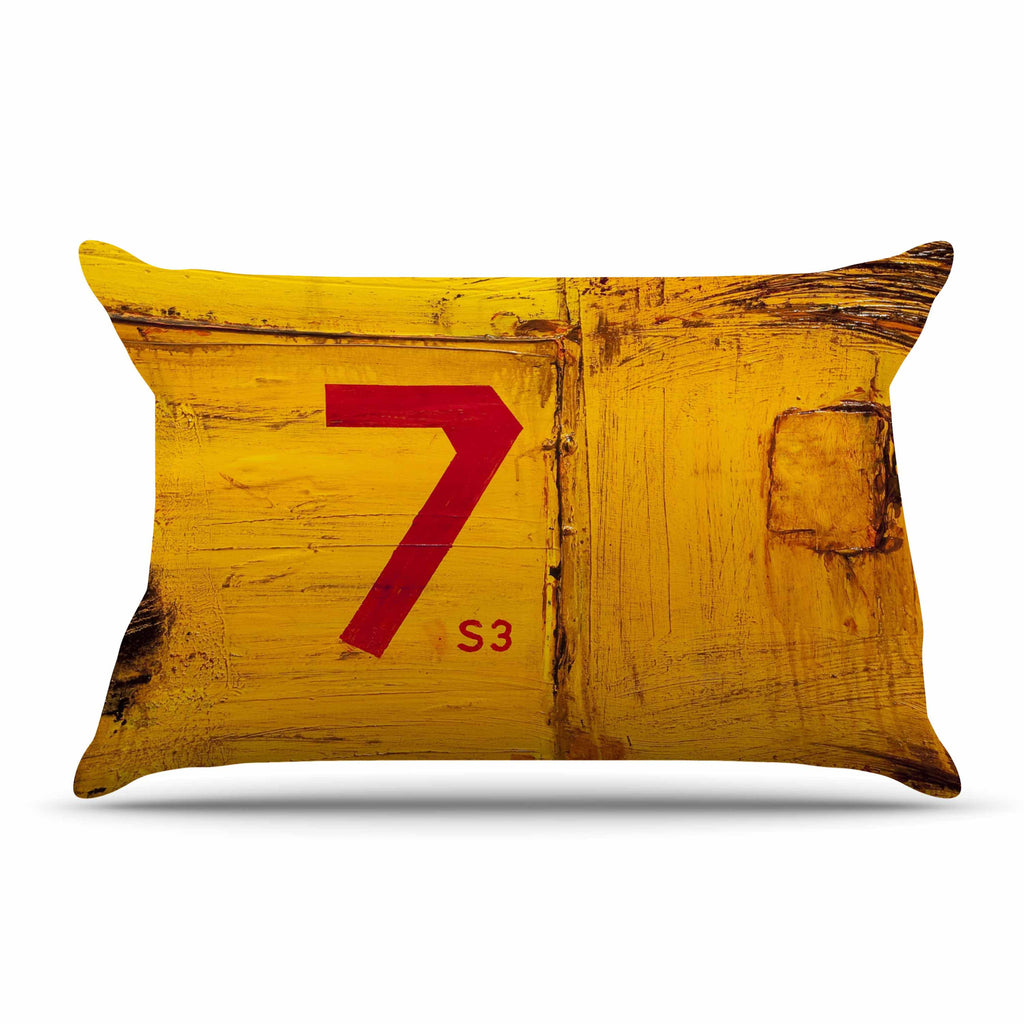 "Steve Dix ""7S3"" Yellow Painting Pillow Sham - KESS InHouse"