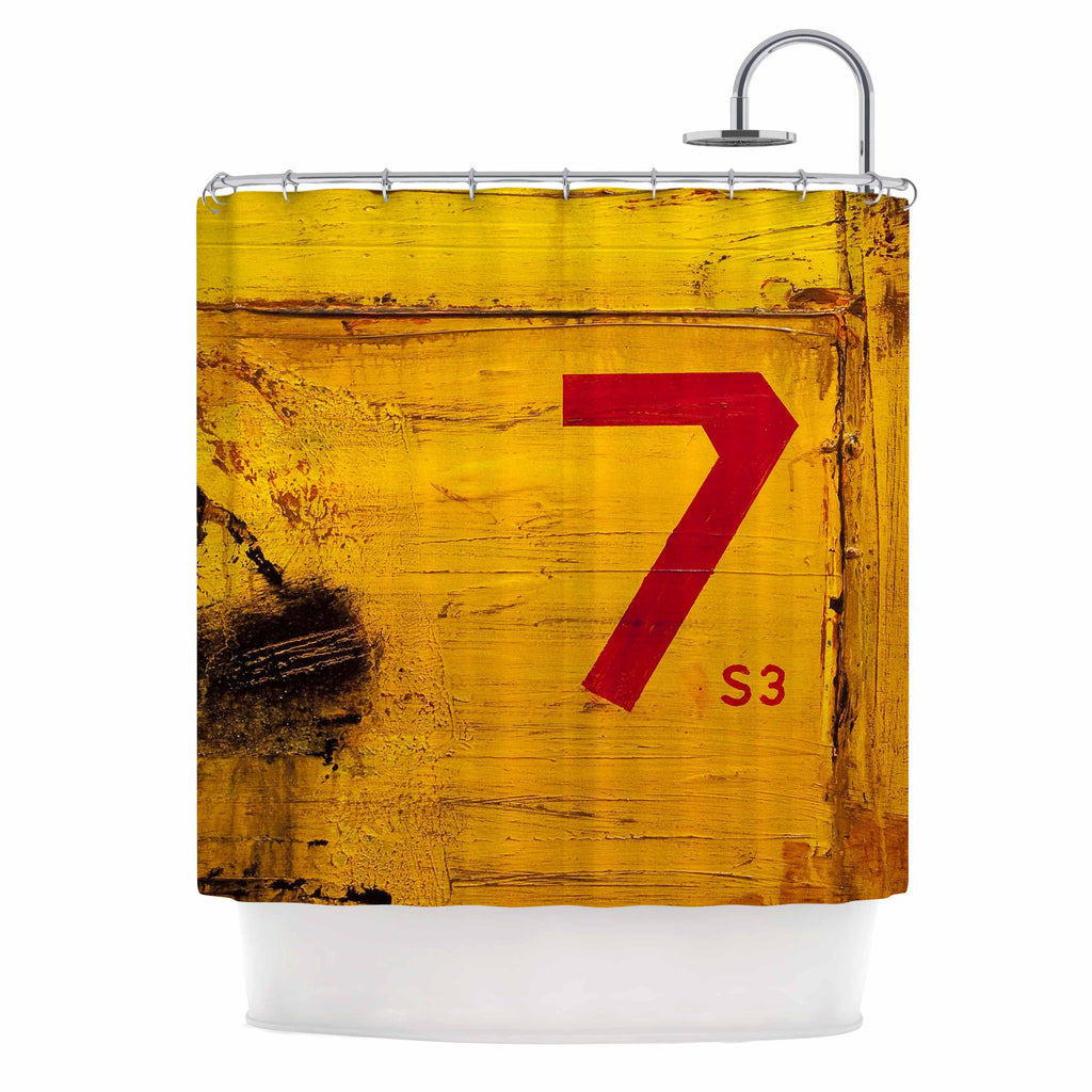 "Steve Dix ""7S3"" Yellow Painting Shower Curtain - KESS InHouse"