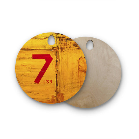 "Steve Dix ""7S3"" Yellow Painting Round Wooden Cutting Board"