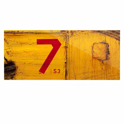 "Steve Dix ""7S3"" Yellow Painting Luxe Rectangle Panel - KESS InHouse  - 1"