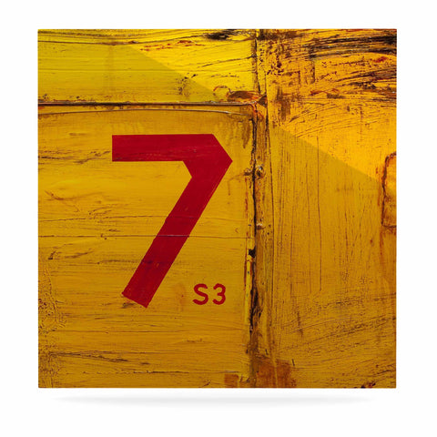"Steve Dix ""7S3"" Yellow Painting Luxe Square Panel - KESS InHouse  - 1"