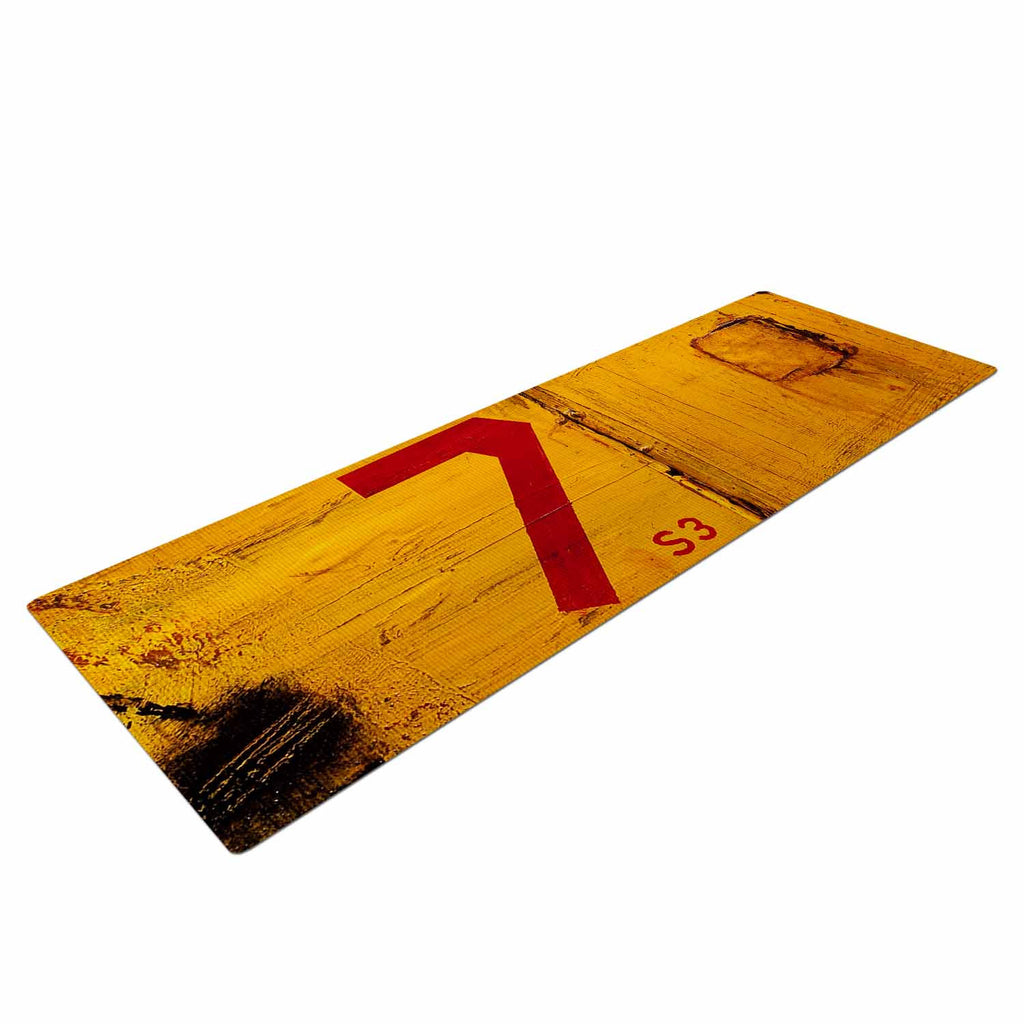 "Steve Dix ""7S3"" Yellow Painting Yoga Mat - KESS InHouse  - 1"