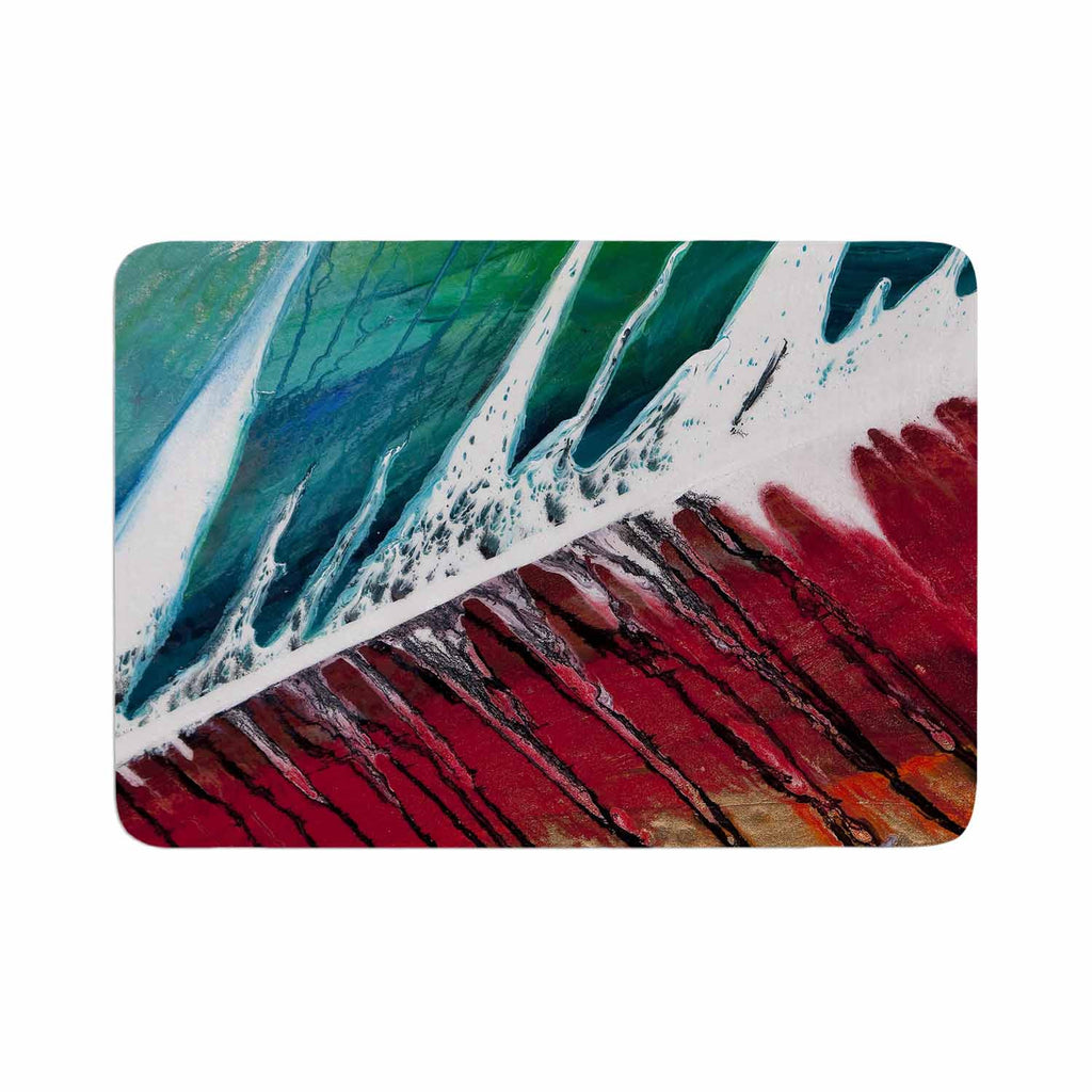 "Steve Dix ""Splish Splash"" Teal Red Memory Foam Bath Mat - KESS InHouse"