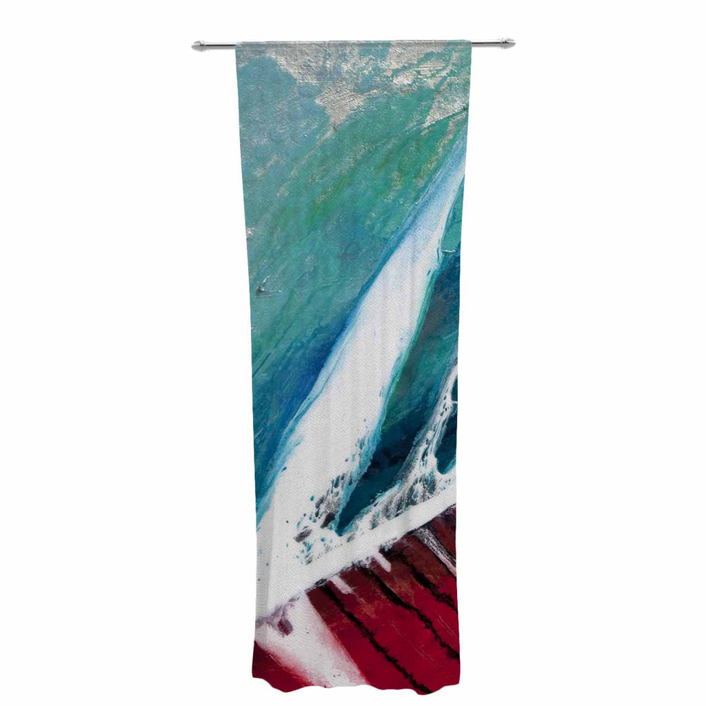 "Steve Dix ""Splish Splash"" Teal Red Decorative Sheer Curtain - KESS InHouse  - 1"