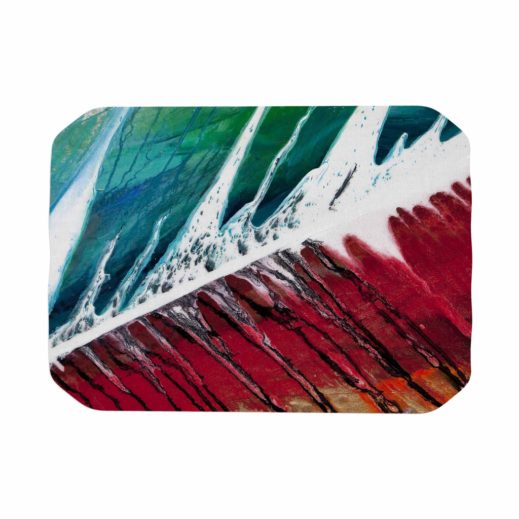 "Steve Dix ""Splish Splash"" Teal Red Place Mat - KESS InHouse"