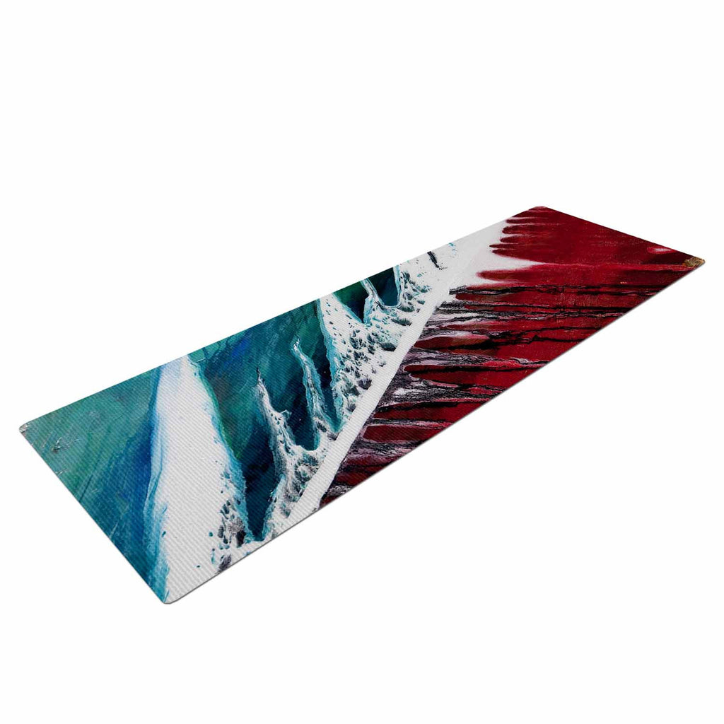 "Steve Dix ""Splish Splash"" Teal Red Yoga Mat - KESS InHouse  - 1"