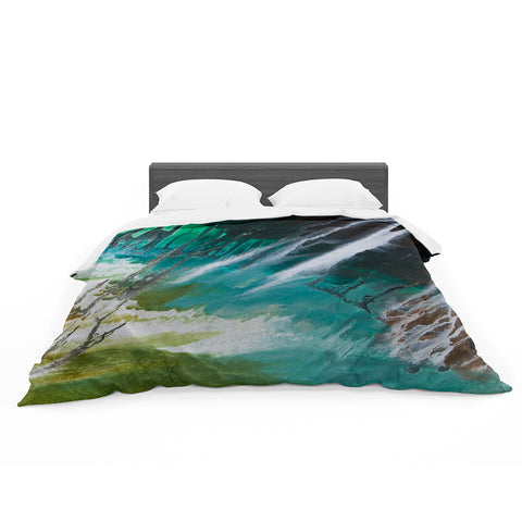 "Steven Dix ""Ocean Majestic"" Blue Green Painting Featherweight Duvet Cover"