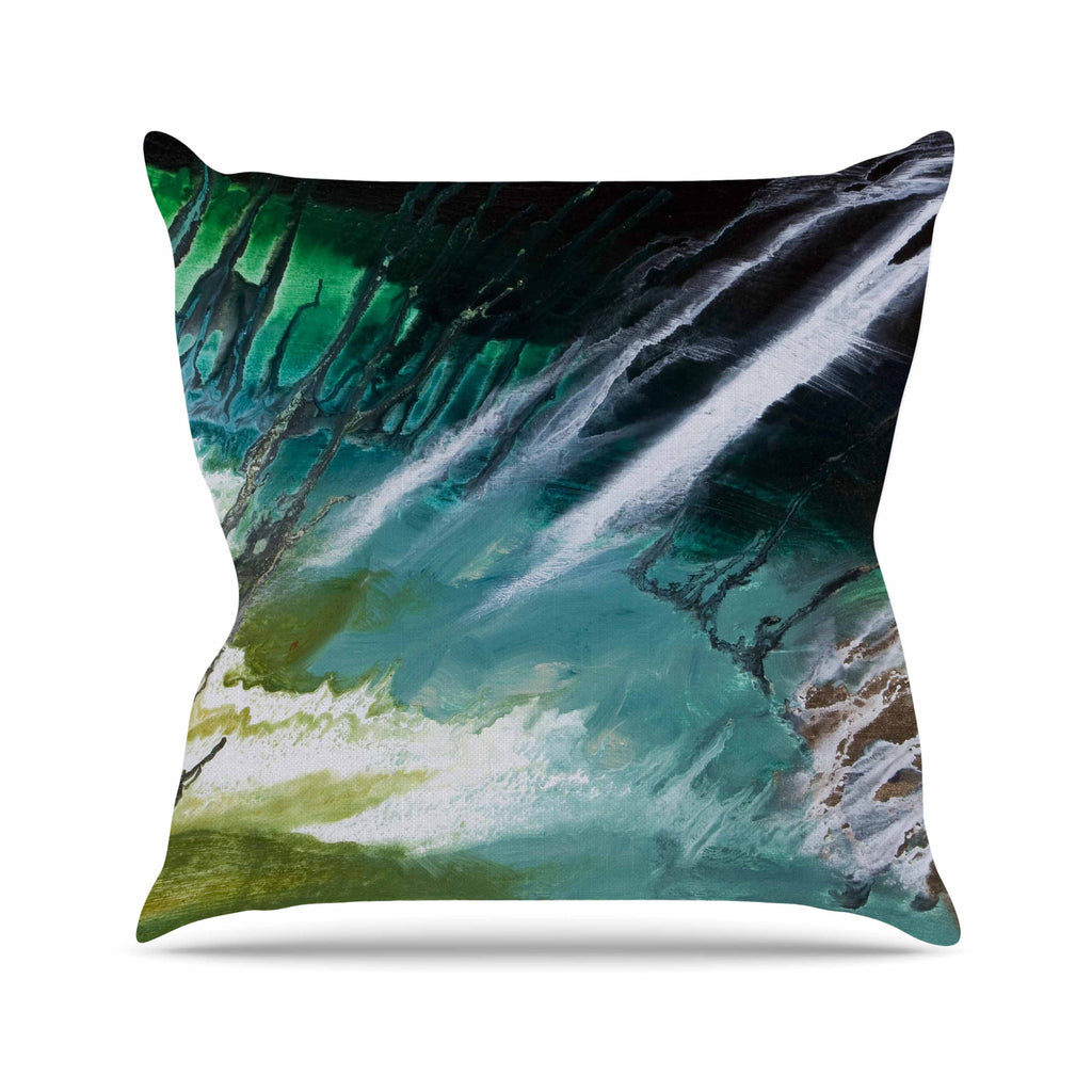 "Steve Dix ""Ocean Majestic"" Teal Green Throw Pillow - KESS InHouse  - 1"