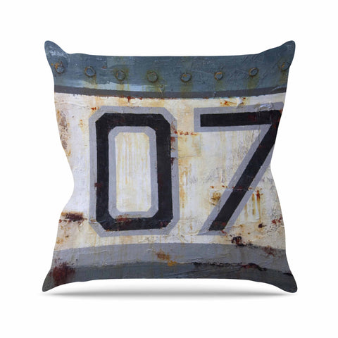 "Steve Dix ""Decommissioned"" Blue White Outdoor Throw Pillow - KESS InHouse  - 1"