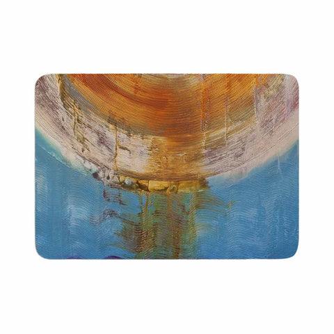 "Steve Dix ""Source of Energy"" Orange Blue Memory Foam Bath Mat - KESS InHouse"