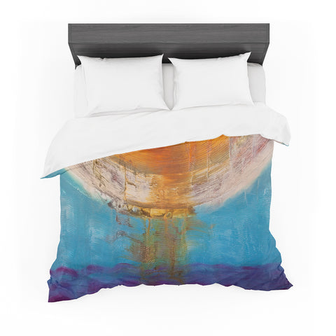 "Steven Dix ""Source Of Energy"" Blue Orange Painting Featherweight Duvet Cover"