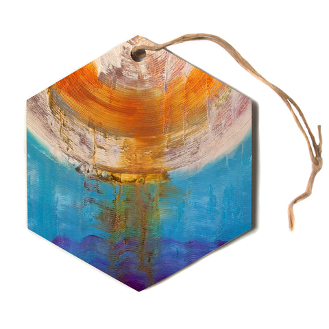 "steven dix ""Source of Energy"" Orange Blue Hexagon Holiday Ornament"
