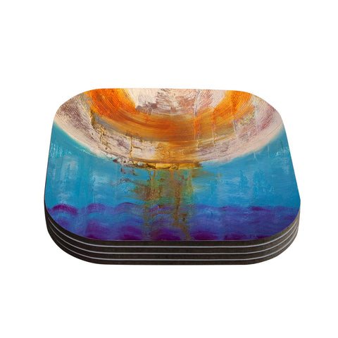 "Steve Dix ""Source of Energy"" Orange Blue Coasters (Set of 4)"