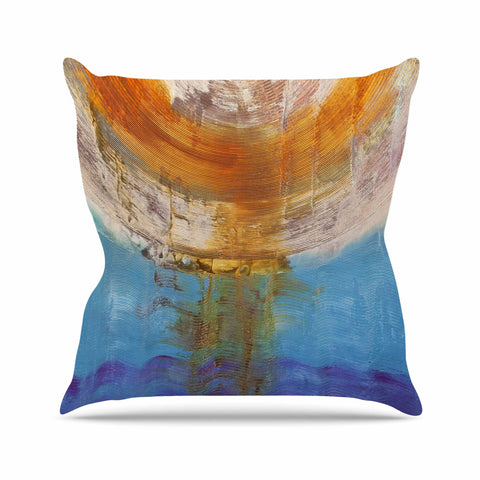 "Steve Dix ""Source of Energy"" Orange Blue Outdoor Throw Pillow - KESS InHouse  - 1"