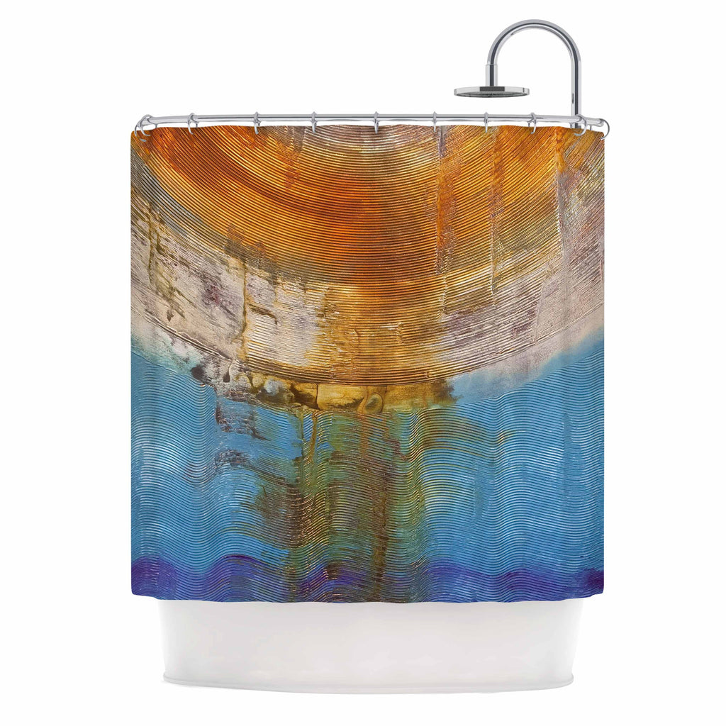 "Steve Dix ""Source of Energy"" Orange Blue Shower Curtain - KESS InHouse"