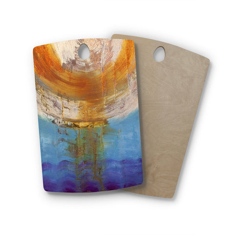 "Steve Dix ""Source of Energy"" Orange Blue Rectangle Wooden Cutting Board"