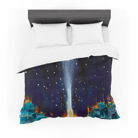 "Steven Dix ""Retro"" White Blue Painting Featherweight Duvet Cover"