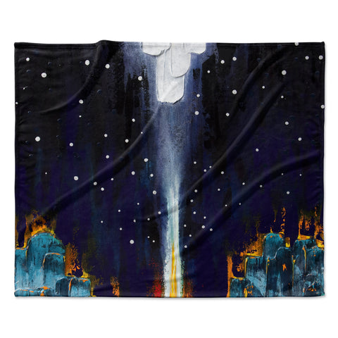 "Steven Dix ""Retro"" White Blue Painting Fleece Throw Blanket"