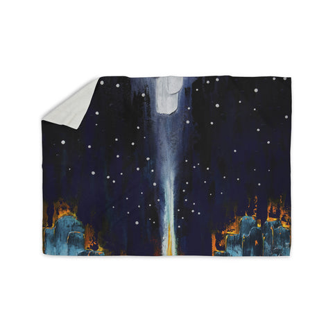 "Steven Dix ""Retro"" White Blue Painting Sherpa Blanket"