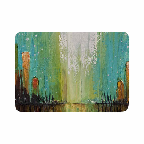 "Steven Dix ""Twilight Imaginings "" Teal Copper Memory Foam Bath Mat"