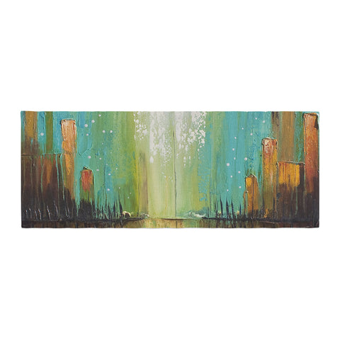 "Steven Dix ""Twilight Imaginings"" Teal Gold Bed Runner"