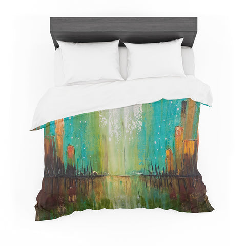 "Steven Dix ""Twilight Imaginings"" Teal Orange Painting Featherweight Duvet Cover"