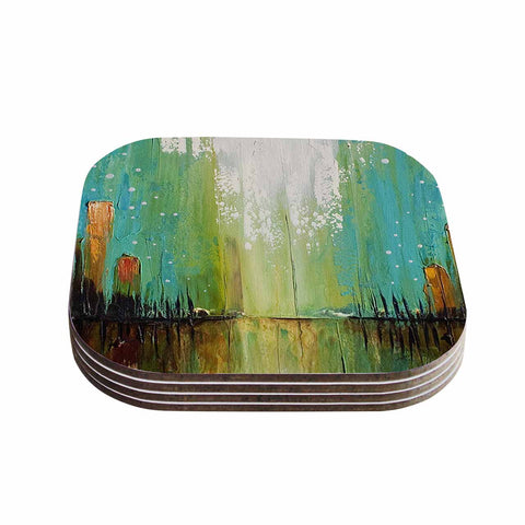 "Steven Dix ""Twilight Imaginings "" Teal Copper Coasters (Set of 4)"