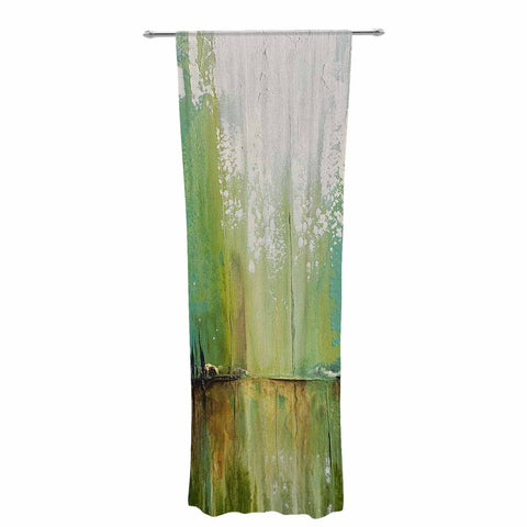 "Steven Dix ""Twilight Imaginings "" Teal Copper Decorative Sheer Curtain"