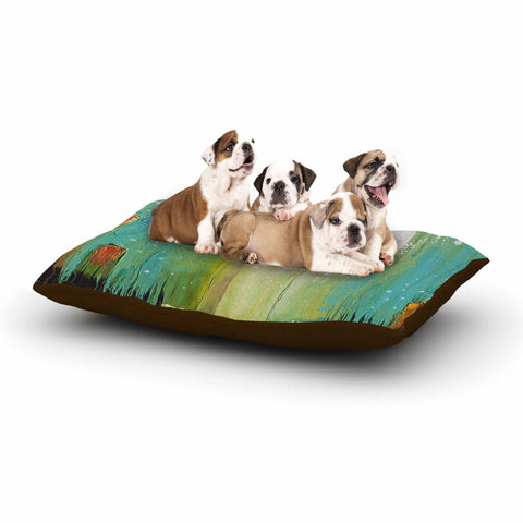 "Steven Dix ""Twilight Imaginings "" Teal Copper Dog Bed"