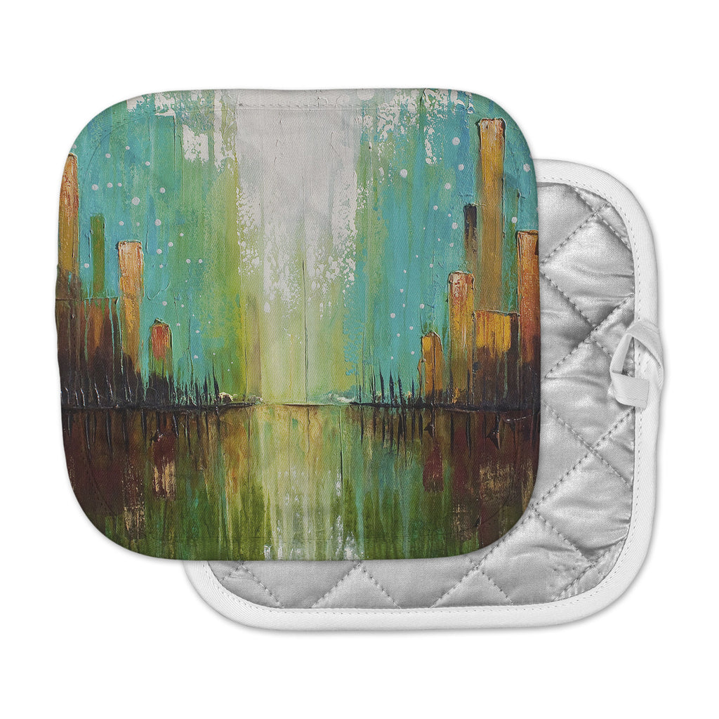 "Steven Dix ""Twilight Imaginings "" Teal Copper Pot Holder"