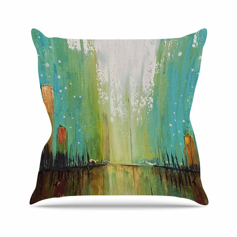 "Steven Dix ""Twilight Imaginings "" Teal Copper Outdoor Throw Pillow"
