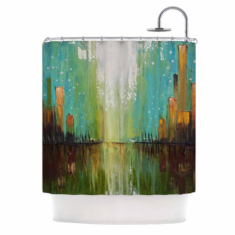 "Steven Dix ""Twilight Imaginings "" Teal Copper Shower Curtain"