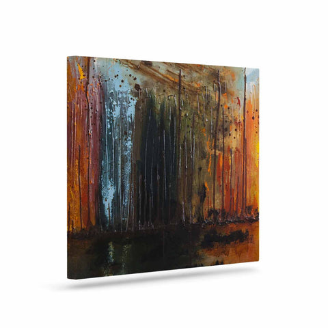 "Steven Dix ""There's Fire"" Black Orange Painting Canvas Art"
