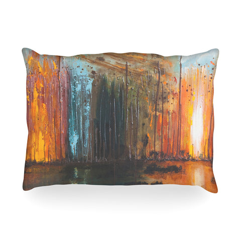 "Steven Dix ""There's Fire"" Black Orange Painting Oblong Pillow"