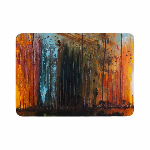 "Steven Dix ""There's Fire"" Black Orange Painting Memory Foam Bath Mat"